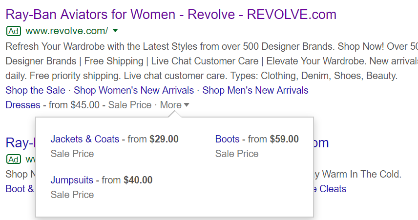 google ads price extensions poor example