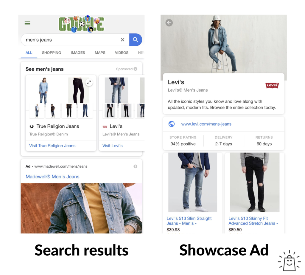 google shopping showcase ads example 2
